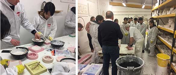American Student learn hands on plasterwork skills